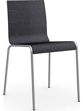 809b753ff734de Chaise ONLINE de CALLIGARIS piétement acier satiné assise grise graphite