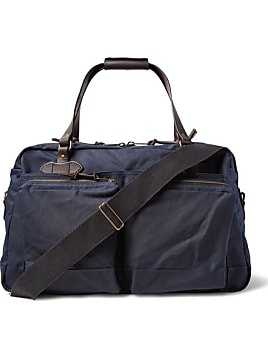 48-hour Leather-trimmed Tin Cloth Duffle Bag - Navy d881ca5c4b411