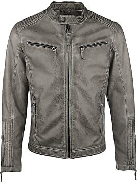 ... hommes veste similicuir Biker Geteppt Slim Fit Modern Cage Blouson imitation  cuir taupe ... fcab7c48cde
