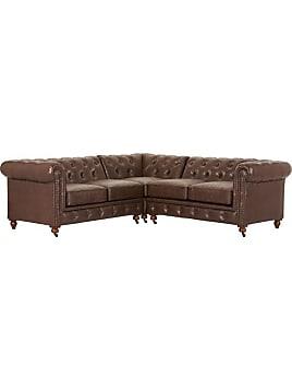 Gordon Sectional Sofa   31Hx94.5Wx Brown Bonded Ltr
