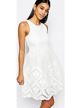 01bc0d907956 Full Prom - Skaterkleid mit Rock mit Spitzenverzierung - Cremeweiß