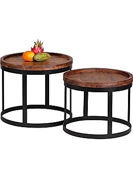 2er Set Beistelltische Massivholz Sheesham Wohnzimmer Tisch Landhaus Stil  Anstelltisch Metallgestell Natur Holz