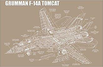 Inked and Screened SP_Avia_F-14A KR_17_W Grumman F-14A Tomcat Silk Screen Print, 11 x 17 Kraft - White Ink
