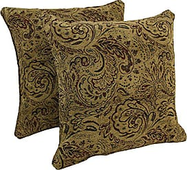 Blazing Needles Double-Corded Patterned Jacquard Chenille Square Floor Pillows with Inserts (Set of 2), 25, Macaroon