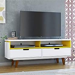 Olivar Móveis Rack para TV até 40 Polegadas 2 Gavetas Lévis Retrô Olivar Branco/Amarelo