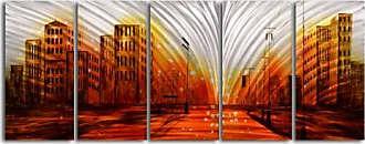 Omax Decor Lights from the Stadium 5-Piece Handmade Metal Wall Art -60W x 24H in