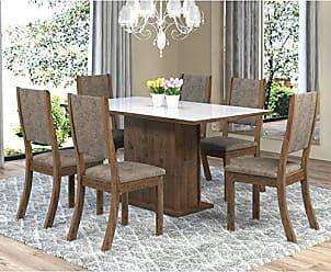 Viero Sala de Jantar Mesa Retangular Tampo de MDF Smart 6 Cadeiras Kiara Viero Grigio/Canela/Vidro Branco