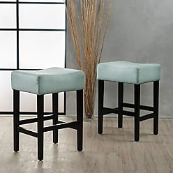 GDF Studio 299499 Coventry Light Blue Fabric Backless Counter Stool (Set of 2)