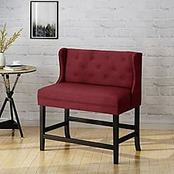 Christopher Knight Home 304380 Paulina Winged Tufted Fabric 2 Seater 28 Barstool, Deep Red + Dark Brown