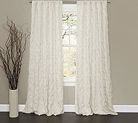 Lush Décor Lake Como Embroidered Diamond Pattern Textured Ivory Window Curtain Panel for Living Room, Dining Room, Bedroom (Single Curtain), 84 x 50
