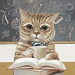 Moe's RE-1172-37 Canvas Acrylic Painting, School Cat
