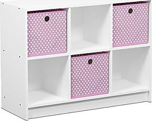 Furinno 99940WH/LPI Basic 3x2 Cubic Bookcase Storage Shelves, White/Light Pink