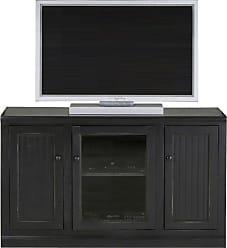 Eagle Furniture Coastal 55 in. Plain Glass Tall Entertainment Center - 72855PLBK