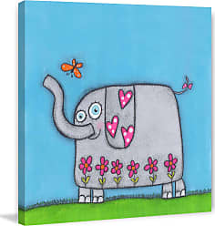 Marmont Hill Elephant with Butterfly Wall Art, Girls - MH-LAW-05-C-18