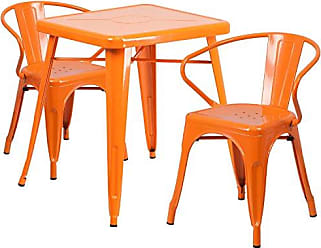 Flash Furniture 23.75 Square Orange Metal Indoor-Outdoor Table Set with 2 Arm Chairs