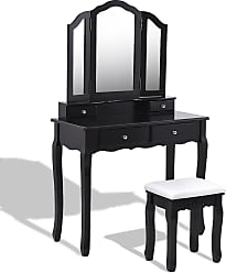 Costway Tri Folding Mirror Vanity Table Stool Set with 4 Drawers