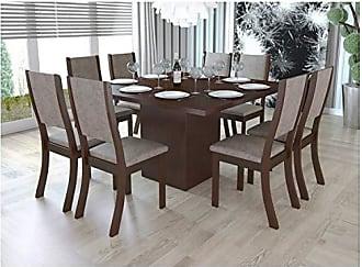 Viero Conjunto Sala de Jantar Mesa e 8 Cadeiras Caqui Viero Choco/Canela