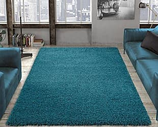 Ottomanson Soft Cozy Color Solid Shag Area Rug Contemporary Living and Bedroom Soft Shag Area Rug, Turquoise Blue, 53 L x 70 W