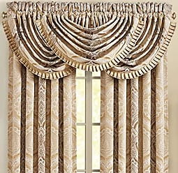 Five Queens Court Giodana Window Waterfall Valance, Gold, 49x33