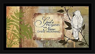 EAZL Gods Promises Distressed Nature Texture Newsprint Bird Religious Painting Tan & Green, Framed Canvas Art by Pied Piper Creative