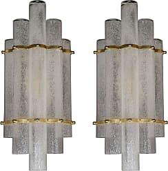 VENINI Pair Of Modernist Handblown Murano Glass pulegoso Sconces W/ Brass Fittings