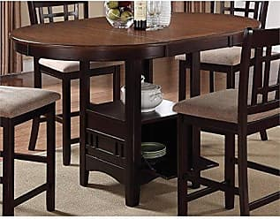 Coaster Lavon Counter Height Table with Storage Base Light Chesnut and Espresso