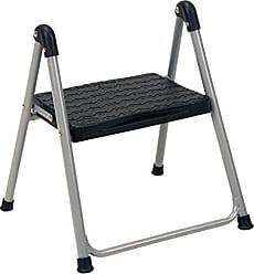 Dorel Home Products COSCO One Step Steel, Resin Steps, Step Stool without Handle, Platinum/Black