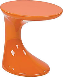 Office Star AVE SIX Slick High Gloss Finish Side Occasional Table, Orange
