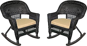 Jeco W00207R-D_2-FS006 Rocker Wicker Chair with Tan Cushion, Set of 2, Black