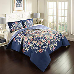 Ellery Homestyles Marble Hill 16755BEDDF/QMUL 3 Piece Floral Fantasy Reversible Comforter Set, Full/Queen, Multicolor