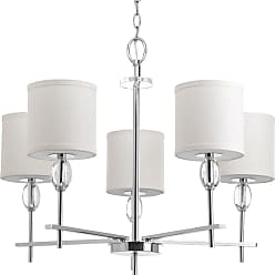 PROGRESS Status Polished Chrome 5-Lt. chandelier with K9 glass accents. with White fabric shades