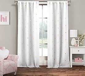 Duck River Textile Lala + Bash Rebeccah Metallic Blackout Darkening Window Curtain 2 Panel, 37 x 84, White & Gold