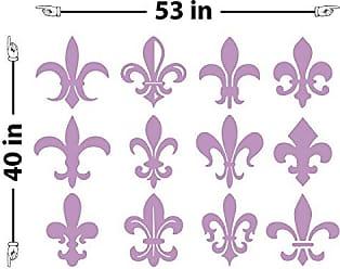 The Decal Guru Fleur du Lis Pattern Wall Decal (Lilac, 40 (H) X 53 (W))