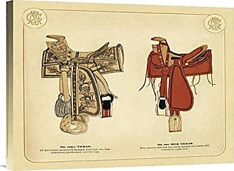 Bentley Global Arts Global Gallery Budget GCS-450075-1824-142 Unknown Tack Red Texas Saddles Gallery Wrap Giclee on Canvas Wall Art Print