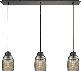 Elk Lighting Muncie 3 Light Linear Pan Pendant In Oil Rubbed Bronze With Champagne Plated Spun Glass