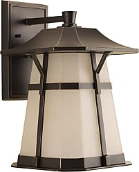 PROGRESS Derby Antique Bronze 1-Lt. LED Large Wall Lantern w/AC LED Module (10 5) Etched Seedy Umber Watermark glass shade