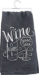 Primitives By Kathy Chalk Art Dish Towel, 28, Wine is Always