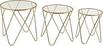 Deco 79 65491 Metal Glass Accent Tables (Set of 3), 18/20/22
