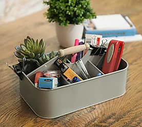 Urban Trends Collection Urban Trends 51311 Metal Rectangular Storage Basket with 5 Slots, Gray