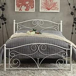 Weston Home Pallina Metal Platform Bed - White, Size: Queen - 2021QW-1