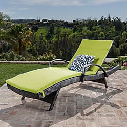 Noble House Christopher Knight Home 296783 Salem Outdoor Wicker Chaise Lounge Chair with Arms with Cushion, Brown with Green