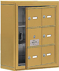 Salsbury Industries 19135-06GSK Cell Phone-Access Panel-3 Unit Surface Mounted-Keyed Locks with 5-Inch Diameter Compartments, Gold