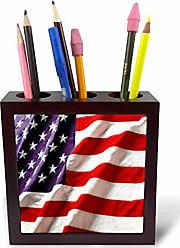 3D Rose ph_12146_1 Textured American Flag Tile Pen Holder, 5-Inch