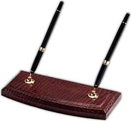 Dacasso Brown Crocodile Embossed Leather Double Pen Stand