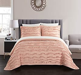 Chic Home Meghan 1 Piece Quilt Coverlet 100% Cotton Wave Pattern Stitching Ruffled Details Bedding, Queen, Blush