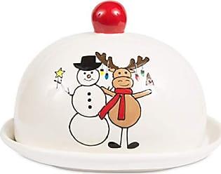 Pavilion Gift Company 81556 Pavilion - Christmas Hugging Snowman & Moose Dolomite Ceramic 4 Inch Single Stick Red Butter Dish 6.25 L x 5.25 W x 4.5 H Multicolored