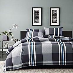 Ink + Ivy Ink+Ivy Nathan Teen Boys Duvet Cover Twin Size - Grey, Plaid - 2 Piece Teen Boy Bedding - 100% Cotton Yarn Lightweight Duvet Cover Set