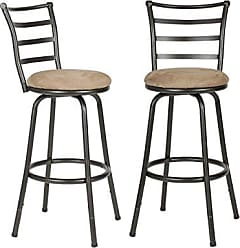 Round Hill Furniture PC033-2PC Round Seat Counter Height Adjustable Metal Bar Stools (Set of 2), Black
