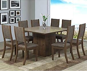 Viero Conjunto Sala de Jantar Mesa 8 Cadeiras Isabela Viero Grigio/Canela/Vidro Bronze