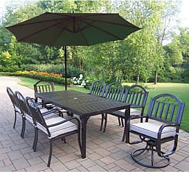 Oakland Living Outdoor Oakland Living Rochester 80 x 40 in. Patio Dining Set with 2 Swivels and Cantilever Umbrella Burnt Orange - 6139-3830-6128-4110-BO-10-HB